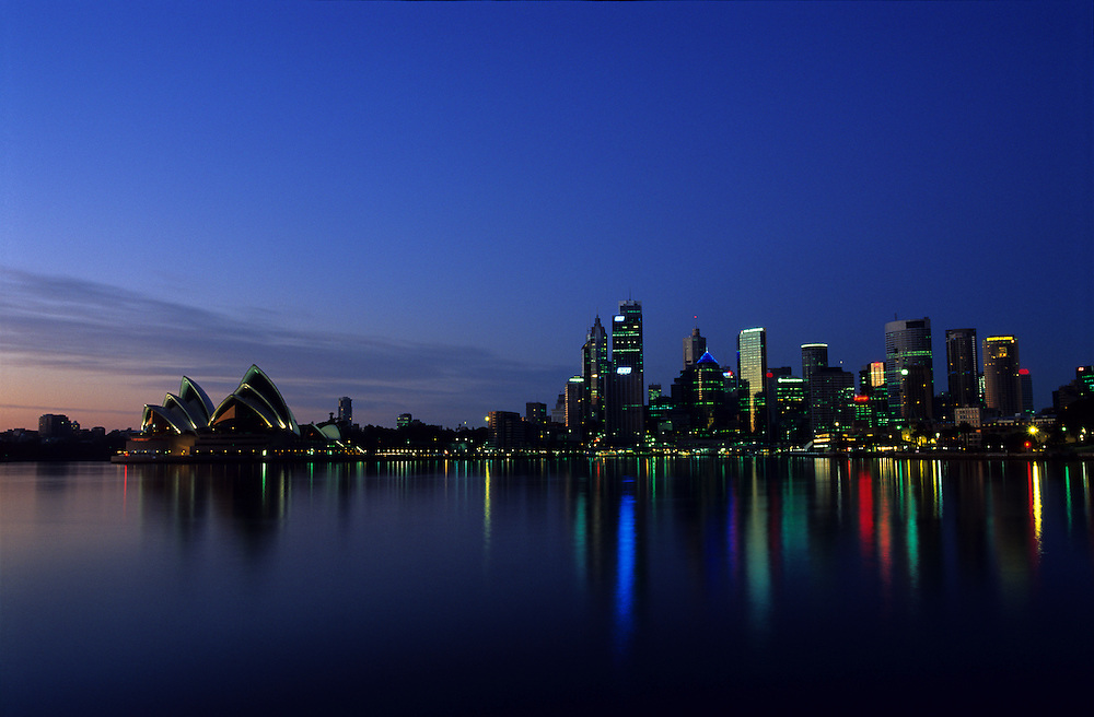 The Sydney skyline at dawn, with the well known Opera House