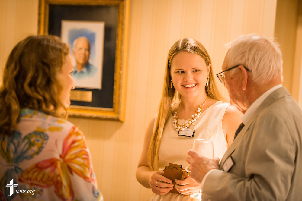 LCMS Young Ambassadors Bethany Glock (center) and Claire Houser talk to Washington veteran Bill Hecht of Hecht, Spencer and Associates during a Let's Talk Life, Marriage and Religious Liberty event on Tuesday, September 8, 2015, a the Capitol Hill Club in Washington, D.C. LCMS Communications/Erik M. Lunsford