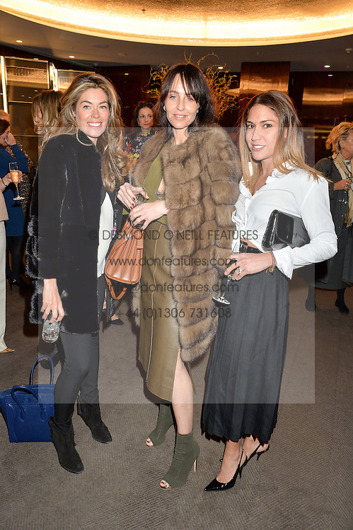 Left to right, SOPHIE STANBURY,  JULIE BRANGSTRUP and LILY HODGES  at a ladies lunch in aid of the charity Child Bereavement UK held at The Bulgari Hotel, 171 Knightsbridge, London on 25th February 2016.