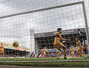 Dundee's Mark O'Hara opening goal hits the net - Motherwell v Dundee, Fir Park, Motherwell, Photo: David Young<br /> <br />  - © David Young - www.davidyoungphoto.co.uk - email: davidyoungphoto@gmail.com