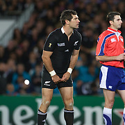 Stephen Donald, New Zealand, lines up what proved to be the match winning penalty kick during New Zealand's 8-7 win over France  in the IRB Rugby World Cup Final at Eden Park, Auckland, New Zealand. 23rd October 2011. Photo Tim Clayton...