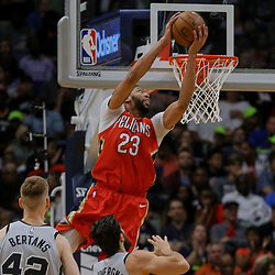 Apr 11, 2018; New Orleans, LA, USA; New Orleans Pelicans forward Anthony Davis (23) dunks against the San Antonio Spurs during the fourth quarter at the Smoothie King Center. The Pelicans defeated the Spurs 122-98. Mandatory Credit: Derick E. Hingle-USA TODAY Sports