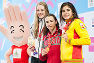 EYOF 2013 Zwemmen Krommerijn Utrecht. Prijsuitreiking 100m vrijeslag (L-R) Marrit Steenbergen (NED), Arina Openysheva (RUS),Marta Cano Minarro (ESP)