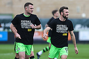 Forest Green Rovers Lee Collins(5) and Forest Green Rovers Christian Doidge(9) warming up during the EFL Sky Bet League 2 match between Forest Green Rovers and Chesterfield at the New Lawn, Forest Green, United Kingdom on 21 April 2018. Picture by Shane Healey.