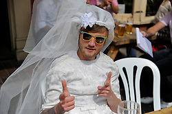 Brighton, UK. 29/04/2011. The Royal Wedding of HRH Prince William to Kate Middleton. A reveller at the street party in Gloucester Road Brighton. Photo credit should read: Peter Webb/LNP. Please see special instructions for licensing information. © under license to London News Pictures