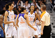 Sep 29, 2013; Phoenix, AZ, USA; Phoenix Mercury guard DeWanna Bonner (24) reacts to a call on the court with teammates guard Diana Taurasi (3) and center Brittney Griner (42) in the game against the Minnesota Lynx at US Airways Center. The Lynx defeated the Mercury 72-65. Mandatory Credit: Jennifer Stewart-USA TODAY Sports