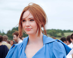 KAREN GILLAN at the Veuve Clicquot Gold Cup polo final held at Cowdray Park, Midhurst, West Sussex on 18th July 2010.