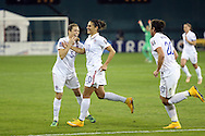 20 October 2014: Carli Lloyd (USA) (10) with Kelley O'Hara (USA) (5) and Abby Wambach (USA) (20). The United States Women's National Team played the Haiti Women's National Team at RFK Memorial Stadium in Washington, DC in a 2014 CONCACAF Women's Championship Group A game, which serves as a qualifying tournament for the 2015 FIFA Women's World Cup in Canada. The U.S. won the game 6-0.