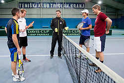 Exhibition game between Gregor Zemlja and Blaz Kavcic playing doubles with Ales Poljak and Ziga Golob on January 28, 2014 in TC Kranj, Kranj, Slovenia. (Photo By Urban Urbanc / Sportida)