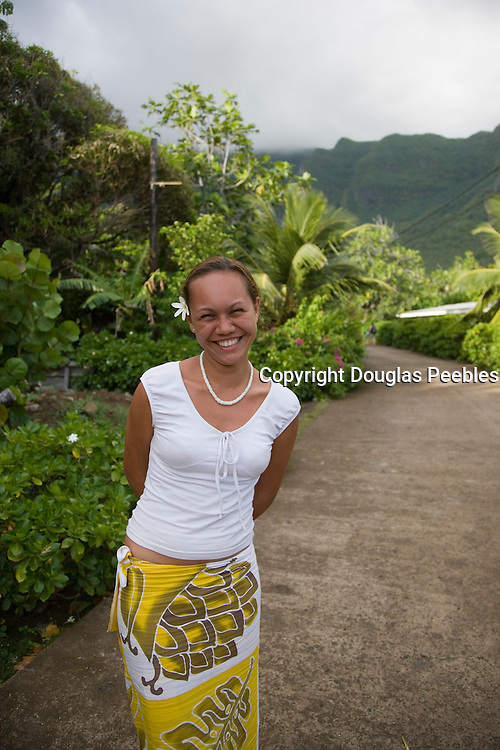 Woman, Hokatu, Ua Huka, Marquesas Islands, French Polynesia, (Editorial use only)<br />