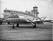 "21/01/1956<br /> 01/21/1956<br /> 21st January 1956<br /> Aer Lingus special - aircraft with new markings, the Vickers Viscount 700 ""Breandán"" in front of the terminal building at Dublin Airport."