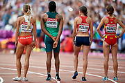Great Britain, London - 2017 August 04: (L-R) Angelika Cichocka (SKLA Sopot) of Poland and Caster Semenya from South Africa and Simona Vrzalova from Czech Republic and Marta Perez from Spain wait for the start in women&rsquo;s 1500m qualification during IAAF World Championships London 2017 at  London Stadium on August 04, 2017 in London, Great Britain.<br /> <br /> Mandatory credit:<br /> Photo by &copy; Adam Nurkiewicz<br /> <br /> Adam Nurkiewicz declares that he has no rights to the image of people at the photographs of his authorship.<br /> <br /> Picture also available in RAW (NEF) or TIFF format on special request.<br /> <br /> Any editorial, commercial or promotional use requires written permission from the author of image.