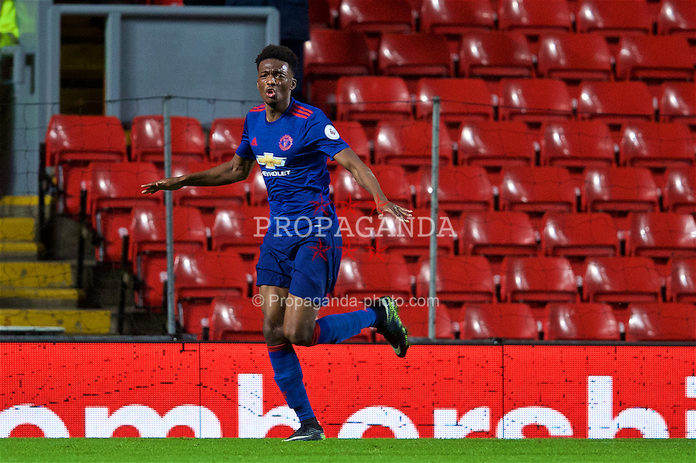 LIVERPOOL, ENGLAND - Monday, January 16, 2017: Manchester United's Matthew Willock celebrates scoring a late winning goal against Liverpool during FA Premier League 2 Division 1 Under-23 match at Anfield. (Pic by David Rawcliffe/Propaganda)