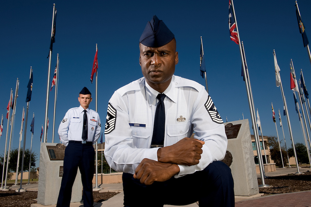Command Chief Master Sgt. Juan Lewis (right) has a strong message to all enlisted personnel concerning education ? get your Community College of the Air Force degree. Chief Lewis and Senior Airman Zachary Foulk are with the 37th Training Wing at Lackland Air Force Base, Texas.  (U.S. Air Force photo/ Lance Cheung)