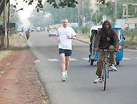 24/11/2013 repro free Carl Coffey from Glasnevin Dublin taking part in the Great Ethiopian run in Hawassa as opposed to the Capital Addis Ababa due to a security threat, part of a group of 20 from Ireland who ran the race in aid of Self Help Africa. Photo:Andrew Downes
