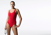 Female swimmer standing portrait