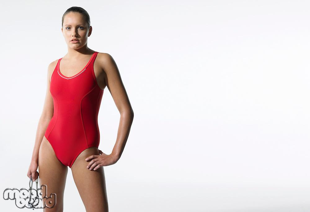 Female swimmer standing portrait