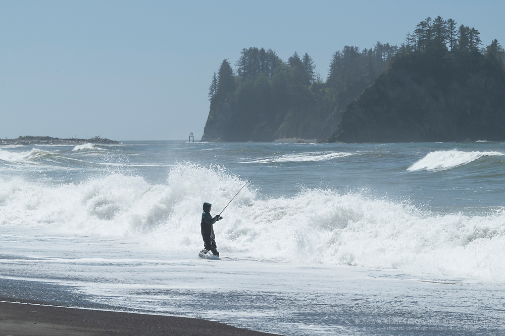 Surf fishing Rialto Beach, Olympic National Park