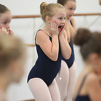 Mary McLellan shows her scary face as part of the audition process for the Nutcracker at Tupelo Ballet on Sunday.