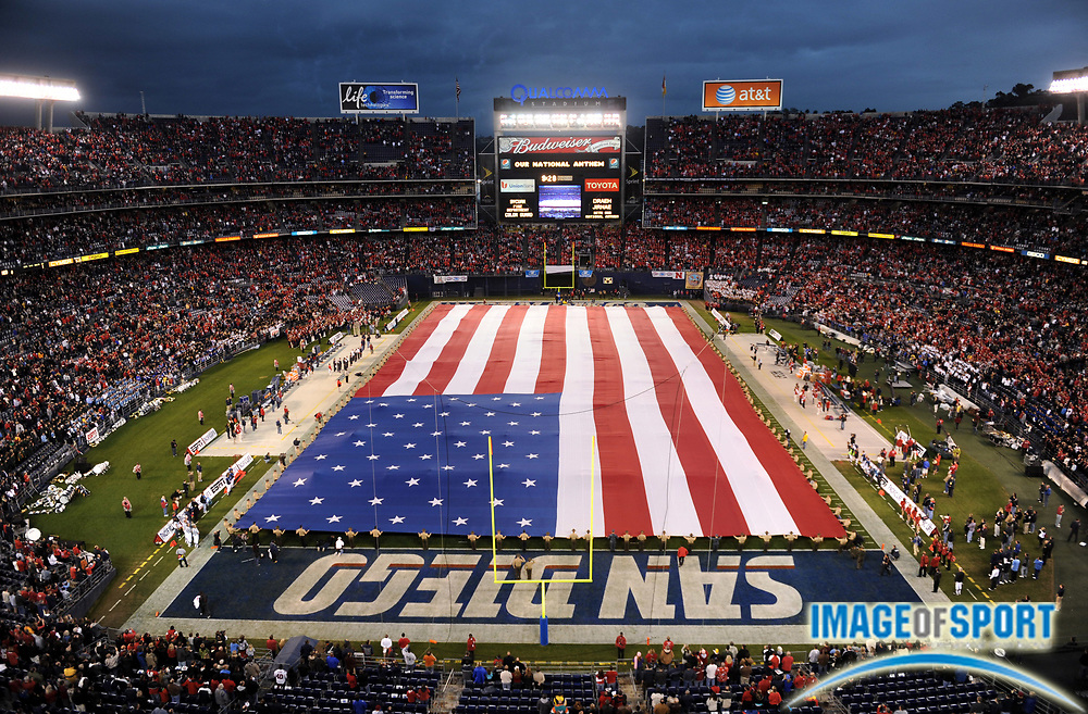 Dec 30, 2009; San Diego, CA, USA; General view of flag of the United States flag during the national anthem before the Holiday Bowl between the Arizona Wildcats and Nebraska Cornhuskers at Qualcomm Stadium.