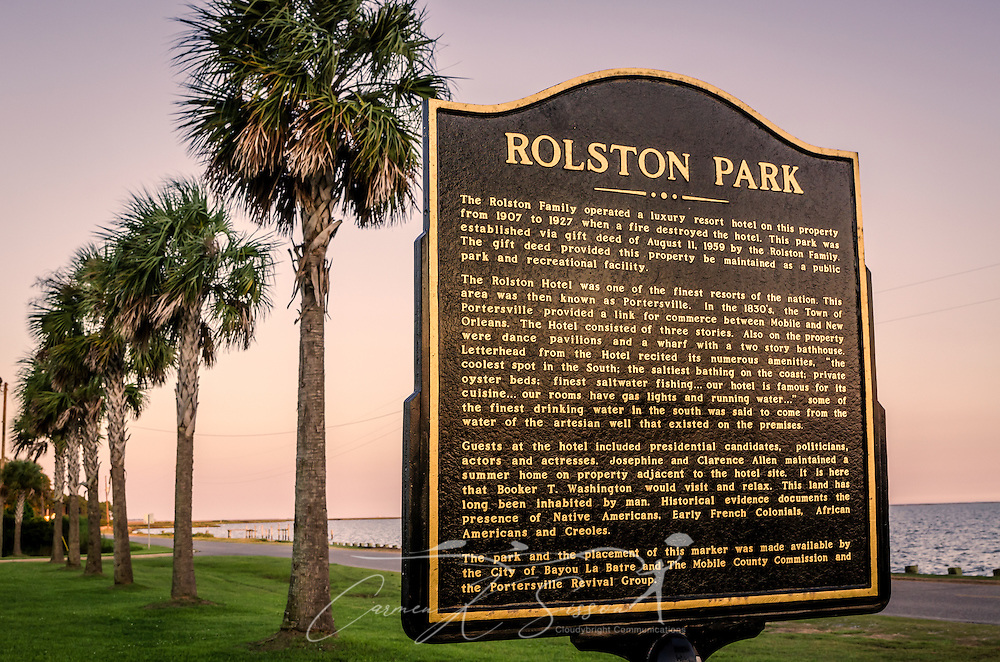 Rolston Park has a new historic marker on Coden Beach in Coden, Alabama. The park was built at the site of the former Rolston Hotel, a luxury resort in the 1850's that attracted wealthy people from across the country, including presidential candidates, politicians, actors, and actresses. (Photo by Carmen K. Sisson/Cloudybright)