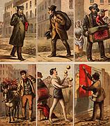 London street scenes. Messenger: Old Clothes Man: Organ Grinder: Vegetable Seller: Juggler: Billposter. Illustrations by Horace William Petherick (1839-1919) for a children's book published London c1875. Chromolithograph