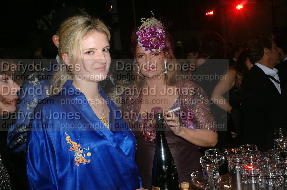 Fiona Scarry and  Francesca Habsburg, Archduchess of Austria. Andy & Patti Wong's Chinese New Year party to celebrate the year of the Rooster held at the Great Eastern Hotel, Liverpool Street, London.29th January 2005. The theme was a night of hedonism in 1920's Shanghai. . ONE TIME USE ONLY - DO NOT ARCHIVE  © Copyright Photograph by Dafydd Jones 66 Stockwell Park Rd. London SW9 0DA Tel 020 7733 0108 www.dafjones.com