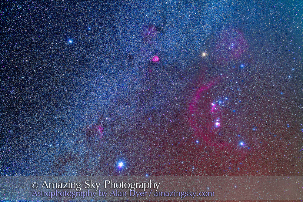 Orion and the Winter Triangle stars, Sirius, Procyon and Betelgeuse, taken from the Painted Pony Resort in New Mexico, March 13, 2013. A stack of 5 x 8 minute exposures at f/4 with the 35mm Canon lens and 5D MkII at ISO 800, plus a layer of 2 x 8 minutes with the Kenko Softon filter for the star glows. M50, M46, M47 and M41 clusters all visible at left.