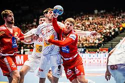 18.01.2020, Wiener Stadthalle, Wien, AUT, EHF Euro 2020, Spanien vs Österreich, Hauptrunde, Gruppe I, im Bild v. l. Viran Morros de Argila (ESP), Lukas Hutecek (AUT) // f. l. Viran Morros de Argila (ESP) Lukas Hutecek (AUT) during the EHF 2020 European Handball Championship, main round group I match between Spain and Austria at the Wiener Stadthalle in Wien, Austria on 2020/01/18. EXPA Pictures © 2020, PhotoCredit: EXPA/ Florian Schroetter