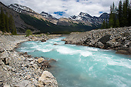 Glacial melt feeding the Athabasca River; Icefield Parkway and Columbia Icefield in Jasper National Park, Alberta, Canada