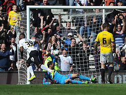 Derby Darren Bent fires in Derby Equaliser Goal  in Extra Time, Derby County, Derby County v Brentford, Sky Bet Championship, IPro Stadium, Saturday 11th April 2015. Score 1-1,  (Bent 92) (Pritchard 28)<br /> Att 30,050
