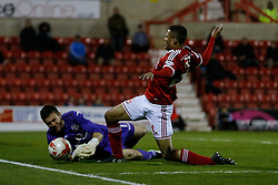 Jermaine Hylton of Swindon Town is allegedly fouled by Richard O'Donnell of Walsall despite no apparant contact and controversially awarded a penalty - Photo mandatory by-line: Rogan Thomson/JMP - 07966 386802 - 21/04/2015 - SPORT - FOOTBALL - Swindon, England - The County Ground - Swindon Town v Walsall - Sky Bet League 1.