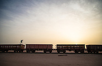 Train hopping in search of surf in Mauritania. Africa
