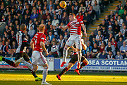 Aaron McGowan of Hamilton headers the ball clear during the Ladbrokes Scottish Premiership match between St Mirren and Hamilton Academical FC at the Paisley 2021 Stadium, St Mirren, Scotland on 13 May 2019.