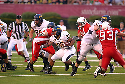 08 September 2007: Paul McKinnis juts through the defensive Redbird line.The Murray State Racers were defeated by the Illinois State Redbirds 43-17 in a nightcap at Hancock Stadium on the campus of Illinois State University in Normal Illinois.