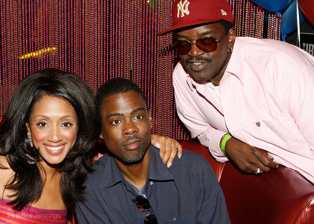 Maalak Compton-Rock, Chris Rock and Fab 5 Freddy at An evening with Dave Chappelle for Kevin Powell for Congress held at Eugene's on July 9, 2008..Kevin Powell runs as a Democratic Candidate for Congress in Brooklyn's 10th Congressional District