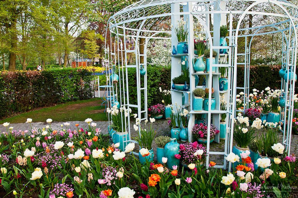 Garden design exhibition at Keukenhof Spring Tulip Garden in Lisse, The Netherlands
