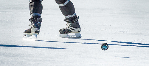 Black Ice Pond Hockey Tournament, 2013 at Whites Park, Concord, New Hampshire. <br />