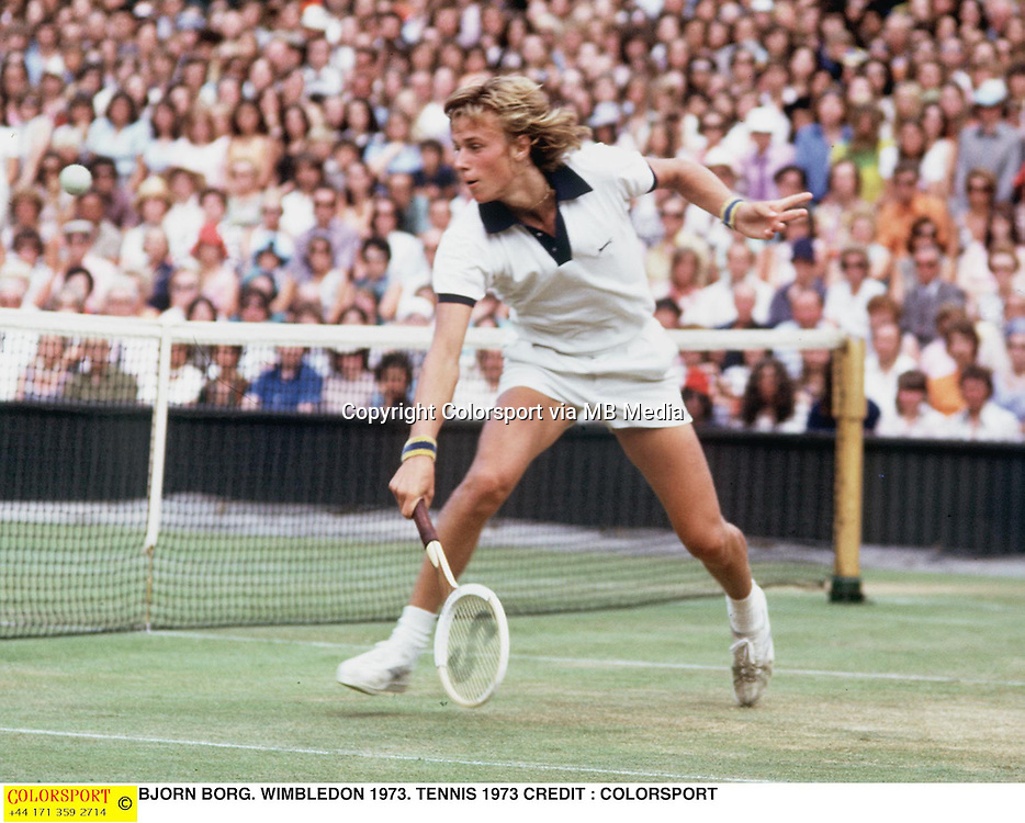 BJORN BORG. WIMBLEDON 1973. TENNIS 1973 CREDIT : COLORSPORT