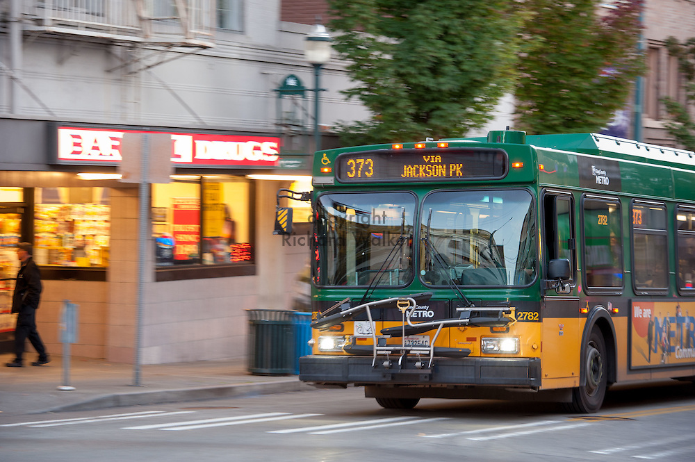 2016 October 10 - King County Metro bus along University Way in the University District, Seattle, WA, USA. By Richard Walker