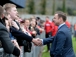 Doncaster Rovers Manager, Paul Dickov Shakes hands with fans after  the game is called off.   - Photo mandatory by-line: Alex James/JMP - Mobile: 07966 386802 - 08/11/2014 - SPORT - Football - Weston-super-Mare - Woodspring Stadium - Weston-super-Mare v Doncaster - FA Cup - Round One