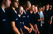 US Navy personnel line-up for a below-deck briefing on the  aircraft carrier USS Harry S Truman. The Truman is the largest and newest of the US Navy's fleet of new generation carriers, a 97,000 ton floating city with a crew of 5,137, 650 are women. The Iraqi no-fly zones (NFZs) were proclaimed by the United States, United Kingdom and France after the Gulf War of 1991 to protect humanitarian operations in northern Iraq and Shiite Muslims in the .