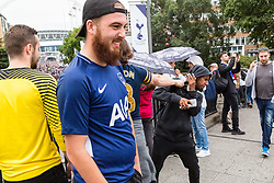 London, August 20 2017. A Tottenham Hotspur fan pushes a youngster after spitting in his face following insults being shouted from the road bridge outside Wembley Park tube station after Spurs hosted their first game of the Premier League season at their temporary home ground, Wembley Stadium, losing 2-1 to Chelsea FC. © Paul Davey.