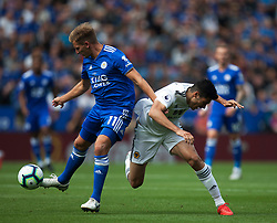 Marc Albrighton of Leicester City (L) and Raul Jimenez of Wolverhampton Wanderers in action - Mandatory by-line: Jack Phillips/JMP - 18/08/2018 - FOOTBALL - King Power Stadium - Leicester, England - Leicester City v Wolverhampton Wanderers - English Premier League
