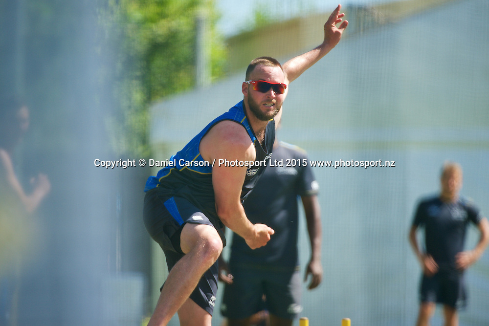 Mark Craig of the New Zealand Black Caps bowls in the nets during the training session on the 12th of November 2015. The New Zealand Black Caps tour of Australia, 2nd test at the WACA ground in Perth, 13 - 17th of November 2015.   Photo: Daniel Carson / www.photosport.nz