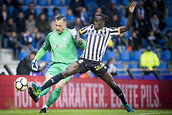 May 13, 2018 - Genk, BELGIUM - Genk's goalkeeper Danny Vukovic and Charleroi's Mamadou Fall fight for the ball during the Jupiler Pro League match between KRC Genk and Sporting Charleroi, in Genk, Sunday 13 May 2018, on day nine of the Play-Off 1 of the Belgian soccer championship. BELGA PHOTO JASPER JACOBS (Credit Image: © Jasper Jacobs/Belga via ZUMA Press)