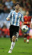 Argentina's Cristian Ansaldi  in action during the international friendly match between Spain and Argentina in Madrid, Spain on November 14 2009.