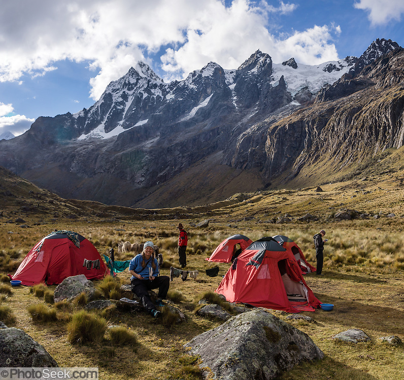 Day 2 of 10: Tent camp in Huaripampa Valley at 13,780 ft or 4200 m, under Nevado Taulliraju (19,100 ft or 5830 m). Trek 10 days around Alpamayo in Huascaran National Park (UNESCO World Heritage Site), Cordillera Blanca, Andes Mountains, Peru, South America. This panorama was stitched from 2 overlapping photos.