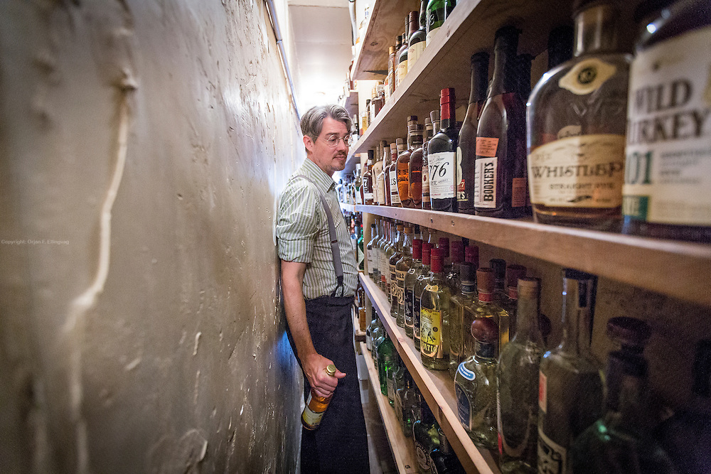 Owner and bartender Toby Cecchini at the Long Island Bar claims to have New York's largest collection of the Scandinavian aquavit liquor. On their drink menu is a Manhattan made with Lysholmer Linie Aquavit.