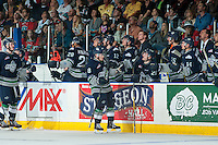 KELOWNA, CANADA - APRIL 23: Scott Eansor #8 of Seattle Thunderbirds celebrates a third period goal against the Kelowna Rockets securing the Game 2 win of the Western Conference playoff series on April 23, 2016 at Prospera Place in Kelowna, British Columbia, Canada.  (Photo by Marissa Baecker/Shoot the Breeze)  *** Local Caption *** Scott Eansor;